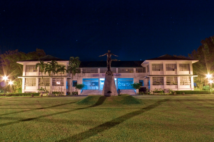 CAS Building (Humanities Building) hosts most of the languages and arts courses and also the seat of the CAS Secretary. Just in front of the building is the Oblation monument.