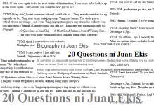 20 Questions ni Juan Ekis