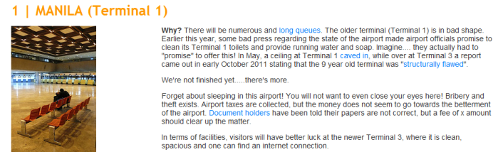 A screen shot from www.sleepinginairports.net showing NAIA Terminal 1 got the crown!